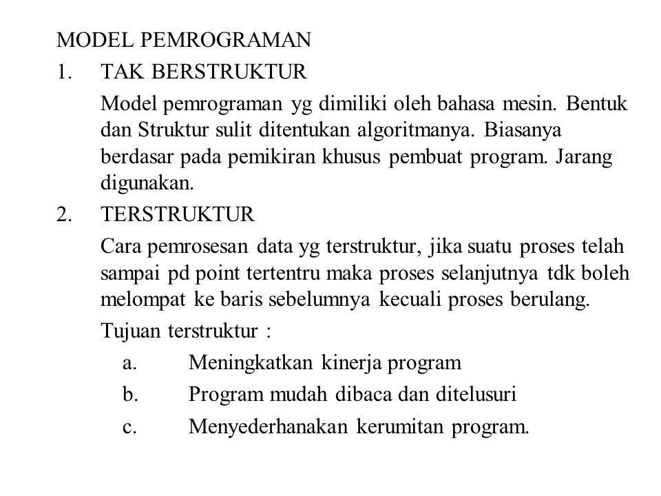MODEL PEMROGRAMAN 1.TAK BERSTRUKTUR Model pemrograman yg dimiliki oleh bahasa mesin. Bentuk dan Struktur sulit ditentukan algoritmanya. Biasanya berda