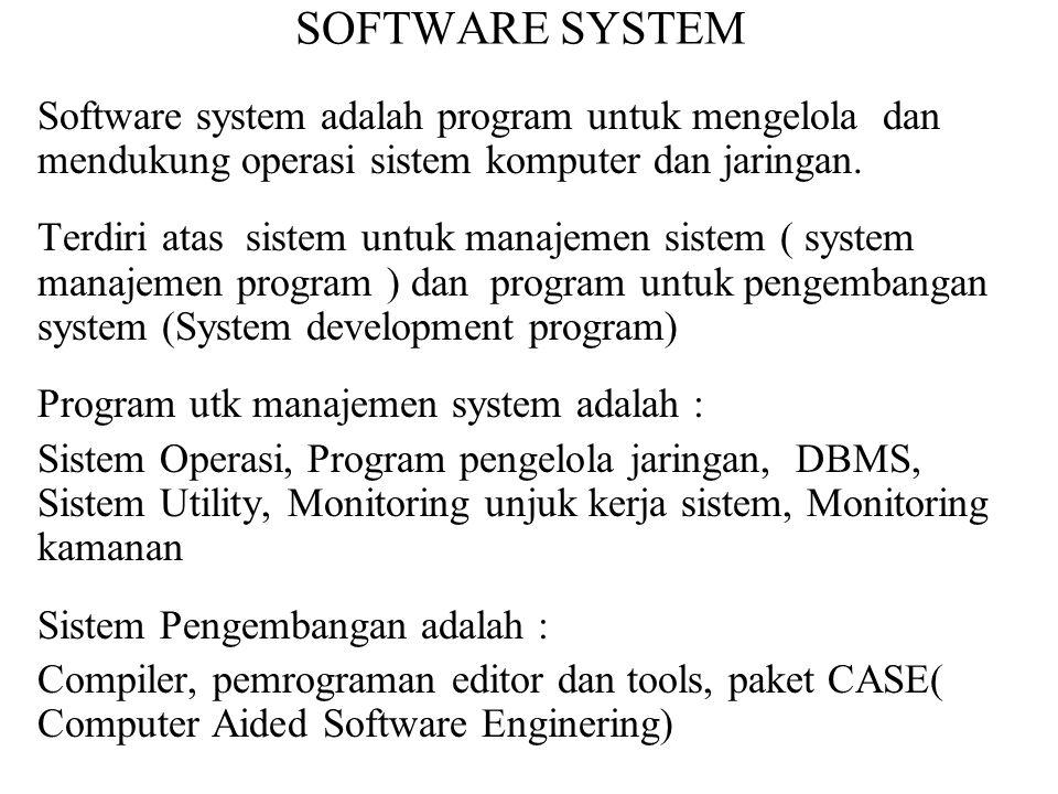 SOFTWARE SYSTEM Software system adalah program untuk mengelola dan mendukung operasi sistem komputer dan jaringan. Terdiri atas sistem untuk manajemen