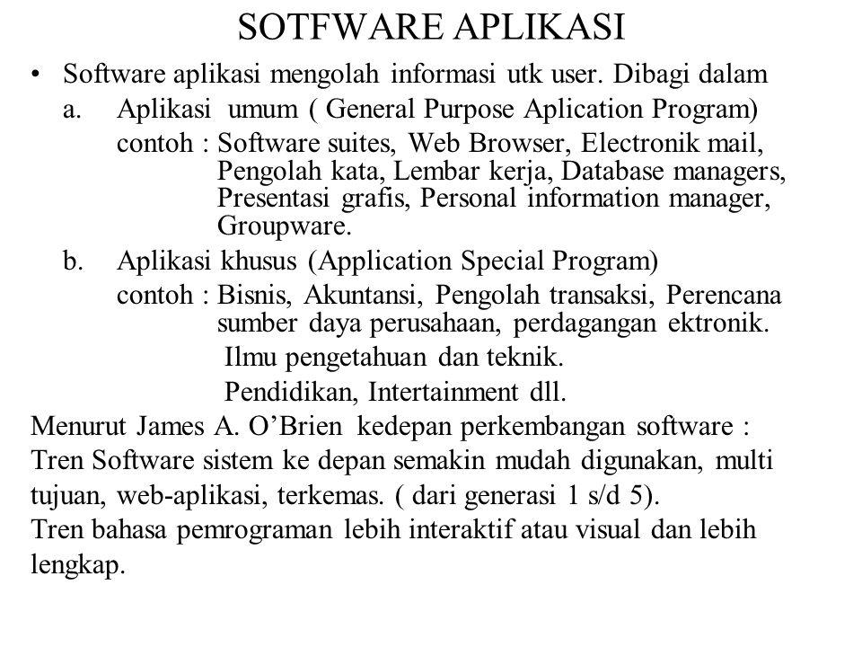 SOTFWARE APLIKASI Software aplikasi mengolah informasi utk user. Dibagi dalam a.Aplikasi umum ( General Purpose Aplication Program) contoh : Software