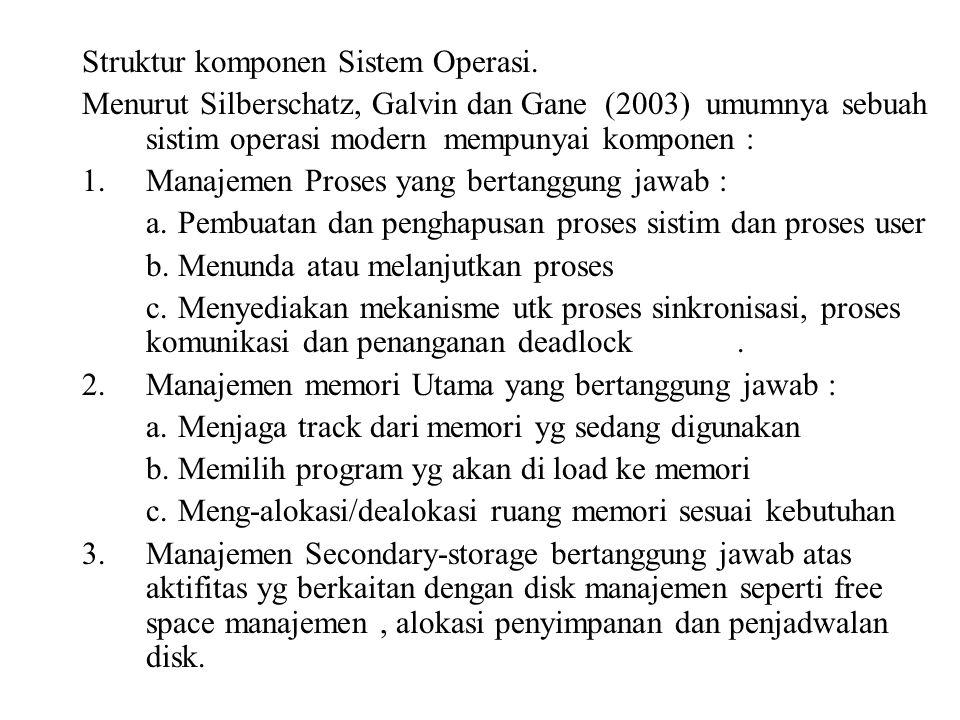 Struktur komponen Sistem Operasi. Menurut Silberschatz, Galvin dan Gane (2003) umumnya sebuah sistim operasi modern mempunyai komponen : 1.Manajemen P