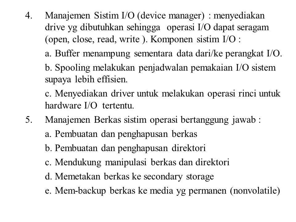 4.Manajemen Sistim I/O (device manager) : menyediakan drive yg dibutuhkan sehingga operasi I/O dapat seragam (open, close, read, write ). Komponen sis