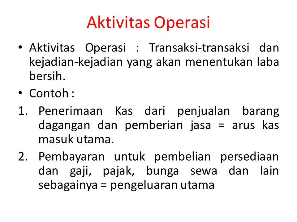 Aktivitas Operasi Aktivitas Operasi : Transaksi-transaksi dan kejadian-kejadian yang akan menentukan laba bersih. Contoh : 1.Penerimaan Kas dari penju