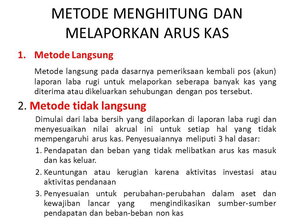 METODE MENGHITUNG DAN MELAPORKAN ARUS KAS 1.Metode Langsung Metode langsung pada dasarnya pemeriksaan kembali pos (akun) laporan laba rugi untuk melap