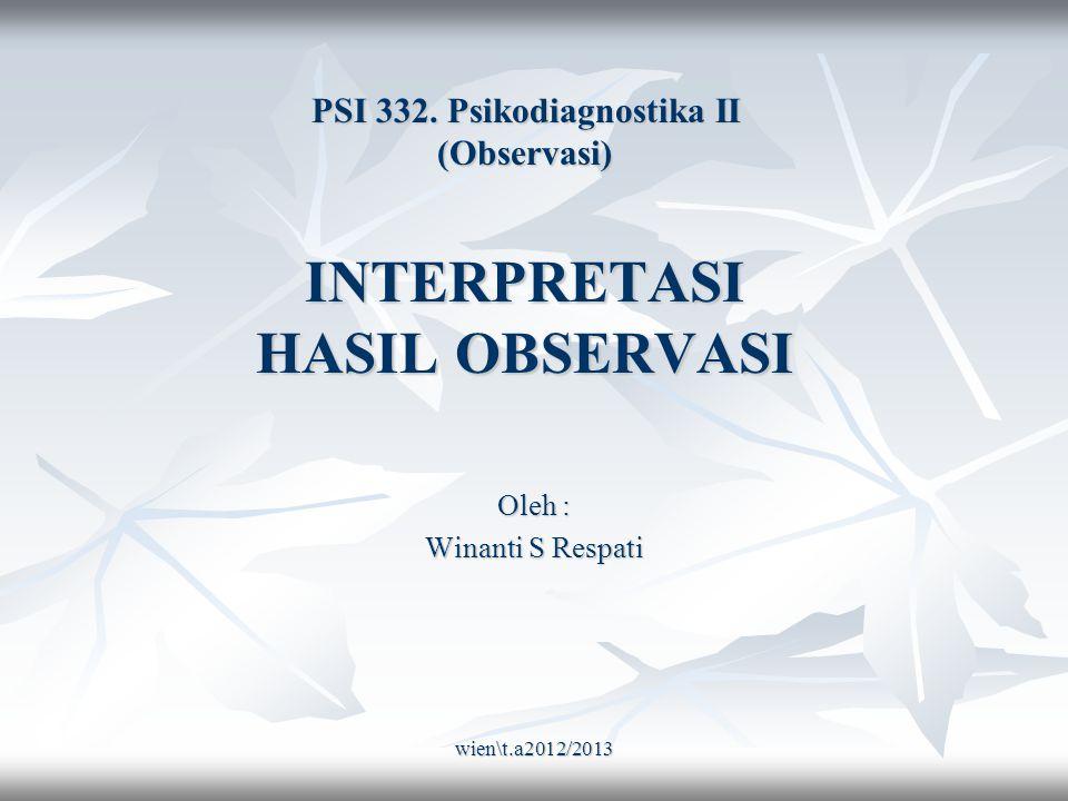 wien\t.a2012/2013 Dasar interpretasi : Pengamatan terhadap Komunikasi verbal & Non-verbal.