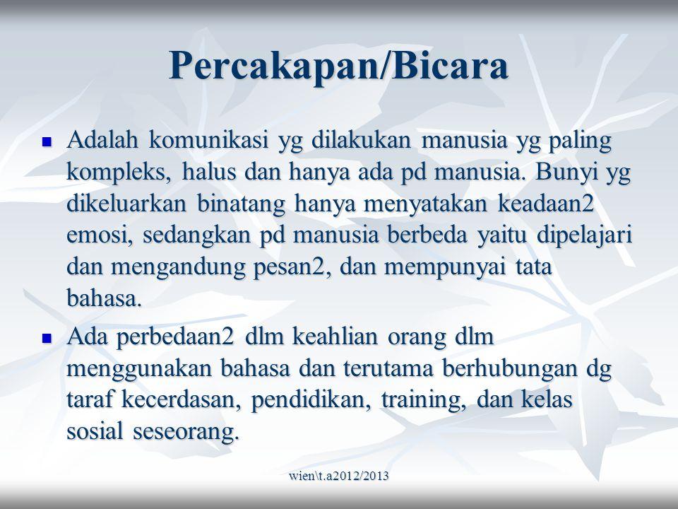 wien\t.a2012/2013 Percakapan/Bicara Adalah komunikasi yg dilakukan manusia yg paling kompleks, halus dan hanya ada pd manusia.