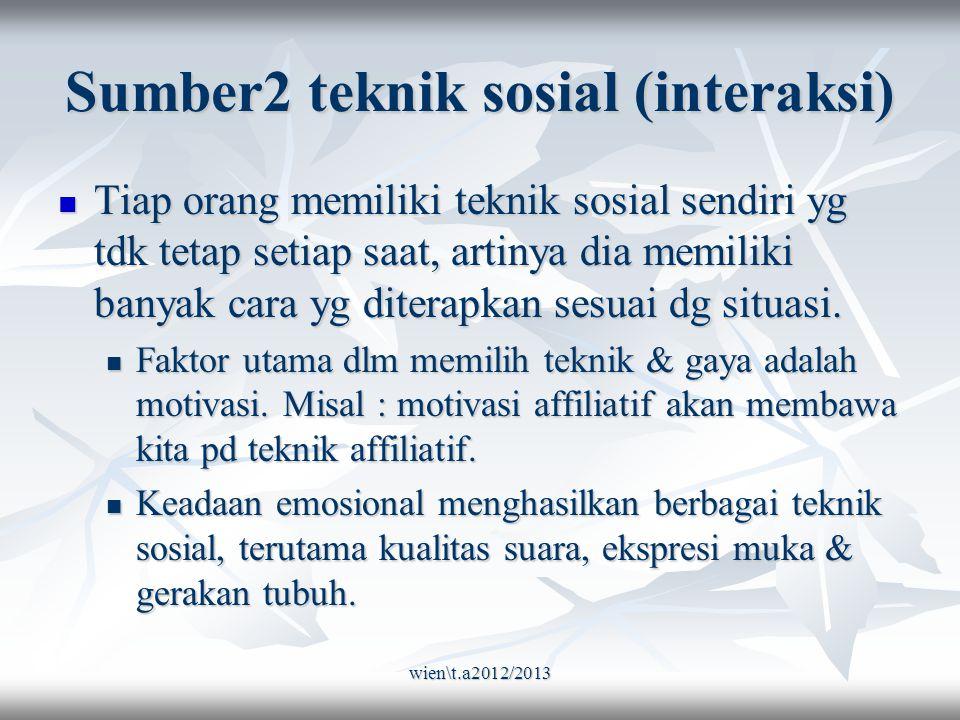 wien\t.a2012/2013 Sumber2 teknik sosial (interaksi) Tiap orang memiliki teknik sosial sendiri yg tdk tetap setiap saat, artinya dia memiliki banyak cara yg diterapkan sesuai dg situasi.