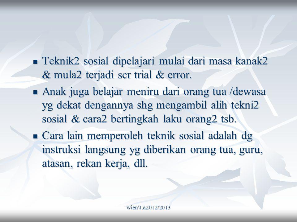 wien\t.a2012/2013 Teknik2 sosial dipelajari mulai dari masa kanak2 & mula2 terjadi scr trial & error.