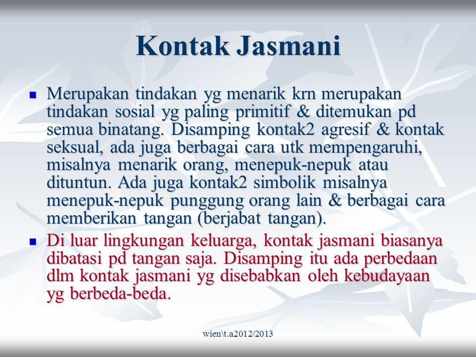wien\t.a2012/2013 Kontak Jasmani Merupakan tindakan yg menarik krn merupakan tindakan sosial yg paling primitif & ditemukan pd semua binatang.