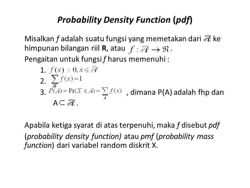 Probability Density Function (pdf) Misalkan f adalah suatu fungsi yang memetakan dari A ke himpunan bilangan riil R, atau. Pengaitan untuk fungsi f ha