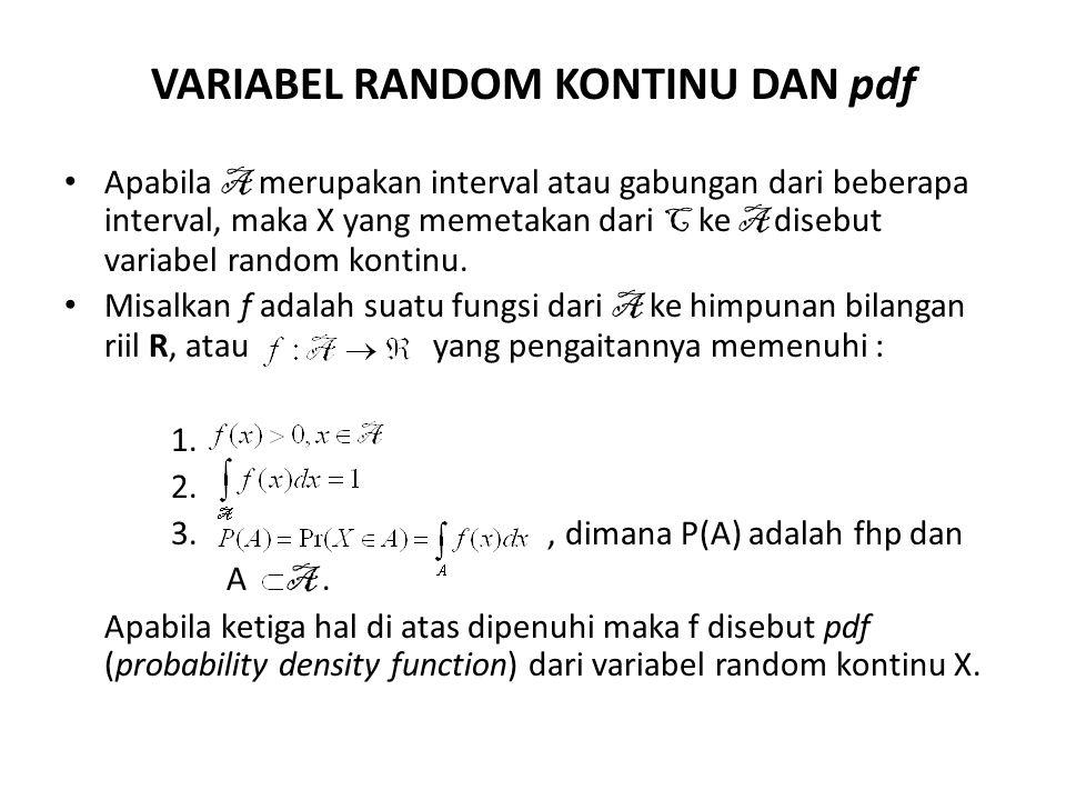 Jika A = {a} maka P (A) = = Pr(X=a) = = 0 Berarti jika X variabel random kontinu maka Pr(X=a) = 0 dan Pr(a < X< b) =.