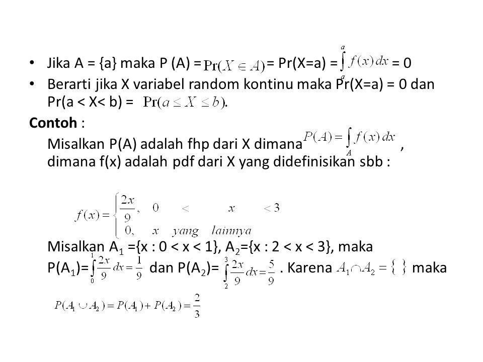 Jika A = {a} maka P (A) = = Pr(X=a) = = 0 Berarti jika X variabel random kontinu maka Pr(X=a) = 0 dan Pr(a < X< b) =. Contoh : Misalkan P(A) adalah fh