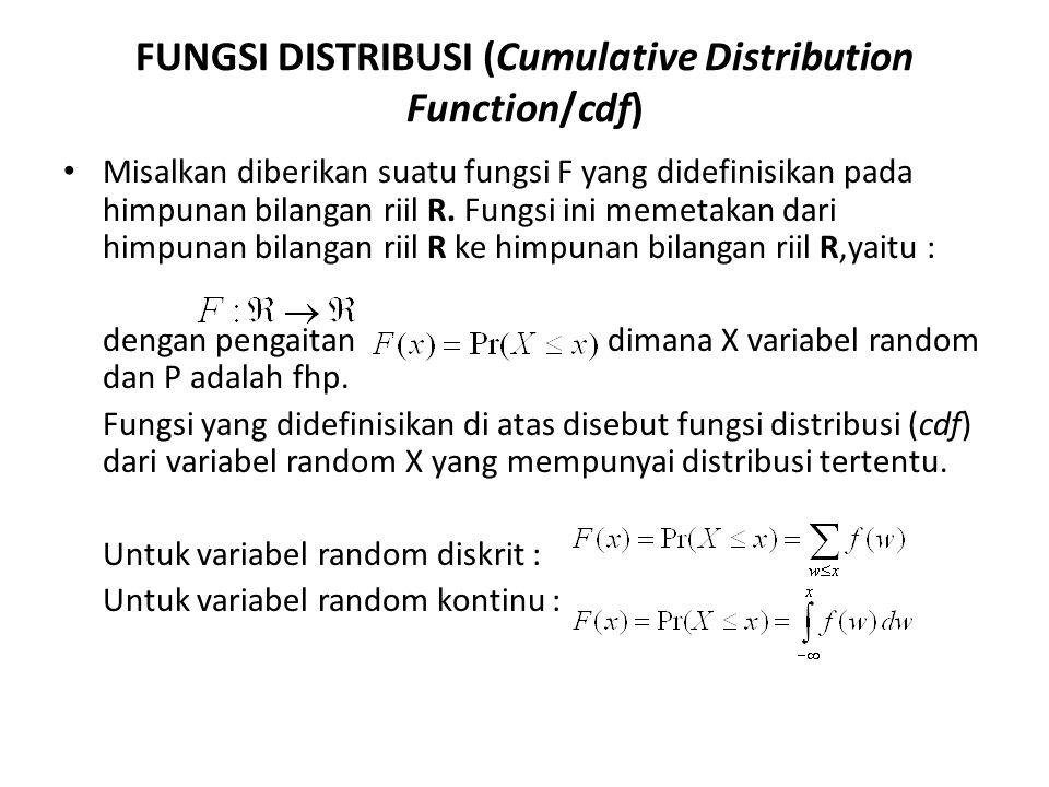 FUNGSI DISTRIBUSI (Cumulative Distribution Function/cdf) Misalkan diberikan suatu fungsi F yang didefinisikan pada himpunan bilangan riil R. Fungsi in