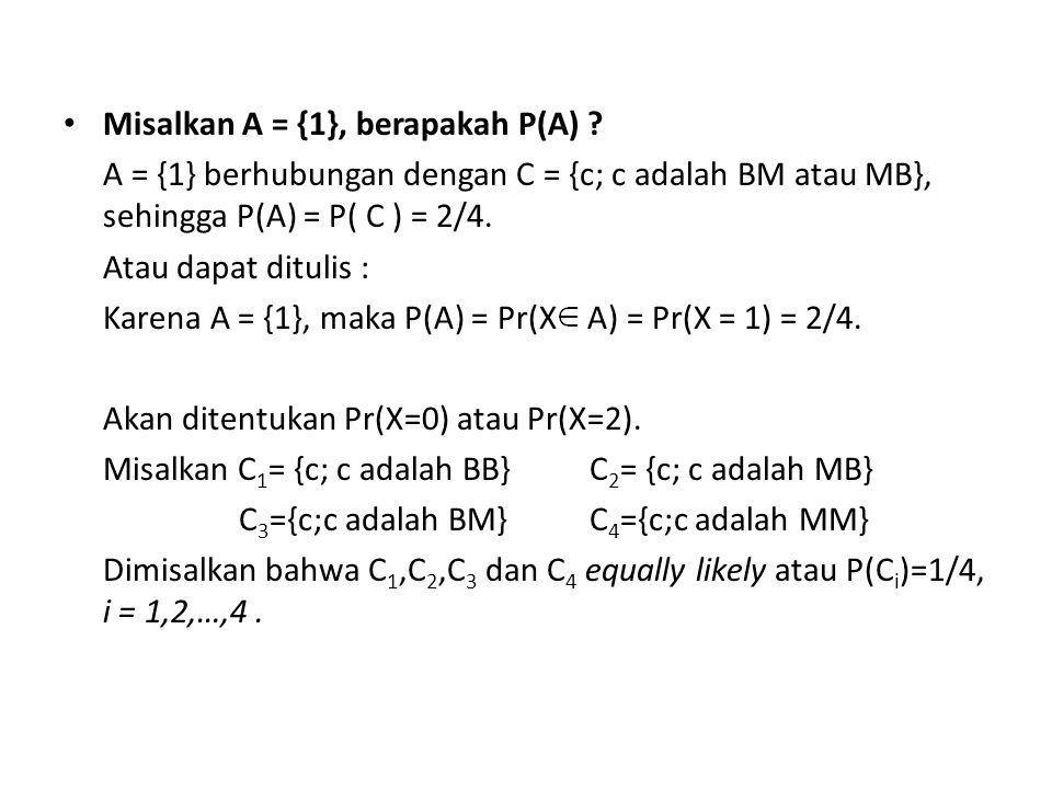 Karena X : banyaknya muka yang muncul, maka : Kejadian A 1 = {0} terjadi jhj kejadian C 1 terjadi Kejadian A 2 = {1} terjadi jhj kejadian C 2 atau C 3 terjadi Kejadian A 3 = {2} terjadi jhj kejadian C 4 terjadi Jadi Pr(X=0) = P(C 1 ) = ¼ Pr(X=1) = = P(C 2 ) + P(C 3 ) = 2/4 Pr(X=2) = P(C 4 ) = ¼ Dalam bentuk tabel atau rumus: atau x012 Pr(X = x)1/41/21/4