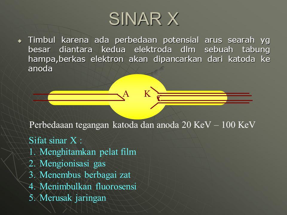 SINAR X  Timbul karena ada perbedaan potensial arus searah yg besar diantara kedua elektroda dlm sebuah tabung hampa,berkas elektron akan dipancarkan
