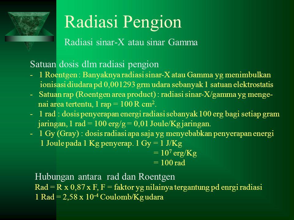 Radiasi Pengion Radiasi sinar-X atau sinar Gamma Satuan dosis dlm radiasi pengion - 1 Roentgen : Banyaknya radiasi sinar-X atau Gamma yg menimbulkan i