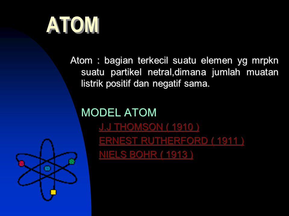 Atom : bagian terkecil suatu elemen yg mrpkn suatu partikel netral,dimana jumlah muatan listrik positif dan negatif sama. MODEL ATOM J.J THOMSON ( 191