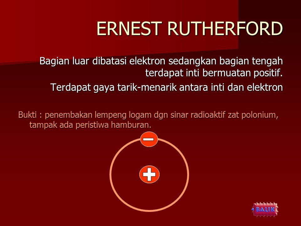ERNEST RUTHERFORD Bagian luar dibatasi elektron sedangkan bagian tengah terdapat inti bermuatan positif. Terdapat gaya tarik-menarik antara inti dan e