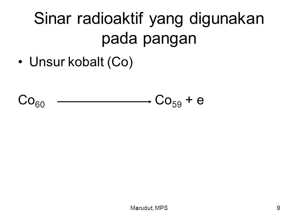 Marudut, MPS9 Sinar radioaktif yang digunakan pada pangan Unsur kobalt (Co) Co 60 Co 59 + e