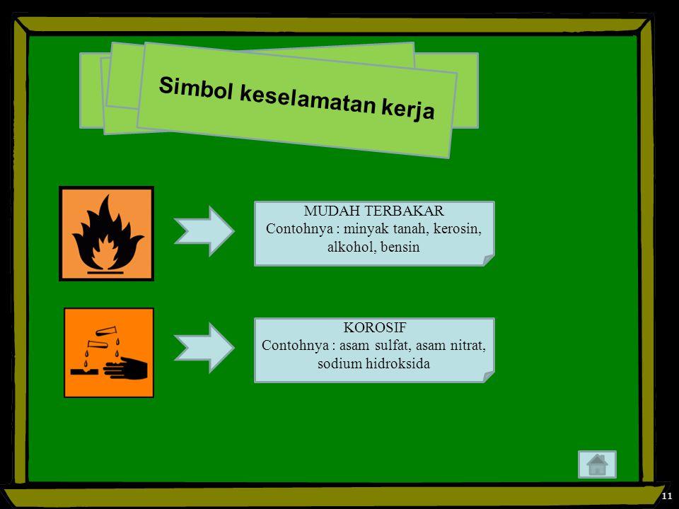 11 S i m b o l k e s e l a m a t a n k e r j a MUDAH TERBAKAR Contohnya : minyak tanah, kerosin, alkohol, bensin KOROSIF Contohnya : asam sulfat, asam nitrat, sodium hidroksida