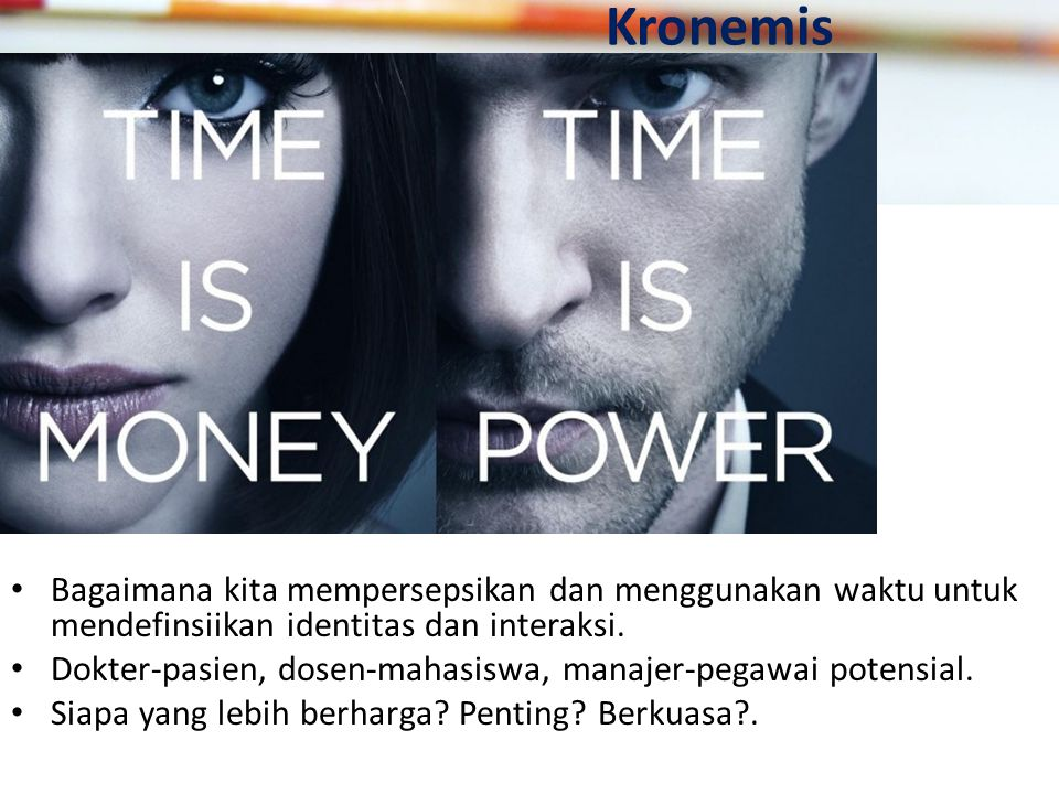 Kronemis Bagaimana kita mempersepsikan dan menggunakan waktu untuk mendefinsiikan identitas dan interaksi.