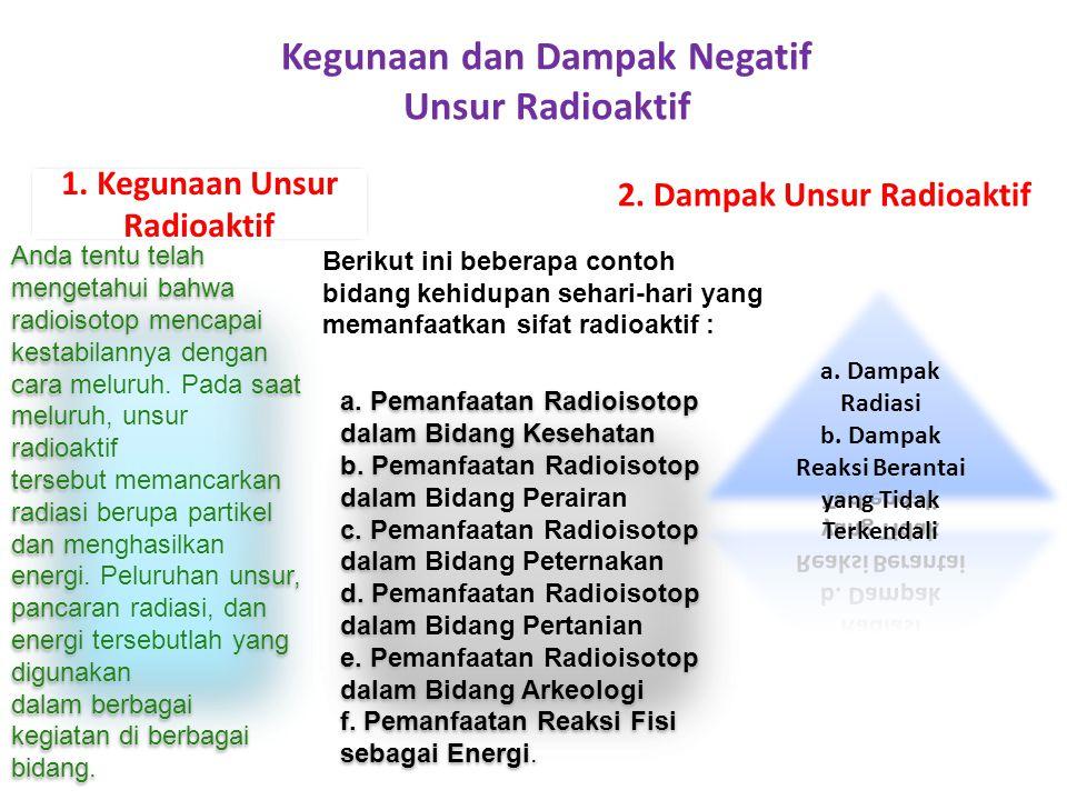 Kegunaan dan Dampak Negatif Unsur Radioaktif Anda tentu telah mengetahui bahwa radioisotop mencapai kestabilannya dengan cara meluruh. Pada saat melur