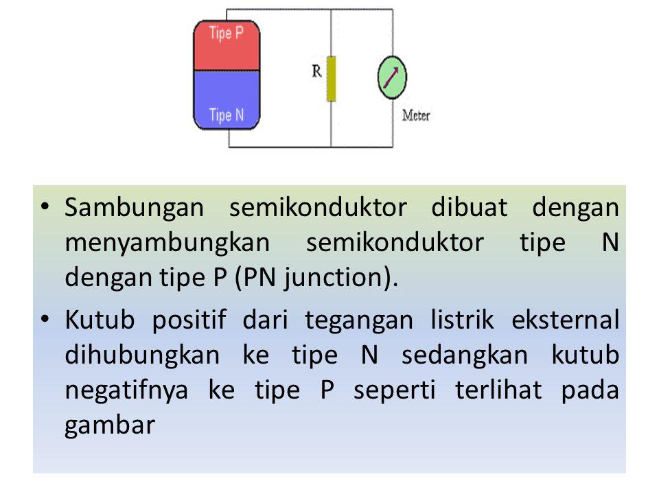 Sambungan semikonduktor dibuat dengan menyambungkan semikonduktor tipe N dengan tipe P (PN junction). Kutub positif dari tegangan listrik eksternal di