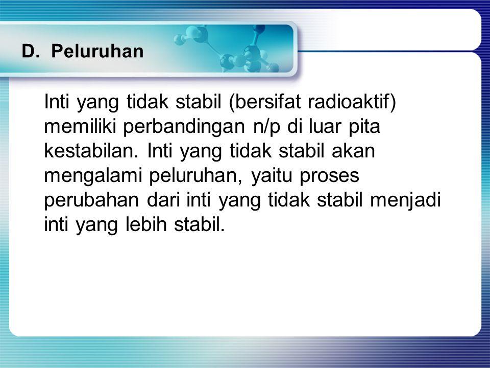 D. Peluruhan Inti yang tidak stabil (bersifat radioaktif) memiliki perbandingan n/p di luar pita kestabilan. Inti yang tidak stabil akan mengalami pel
