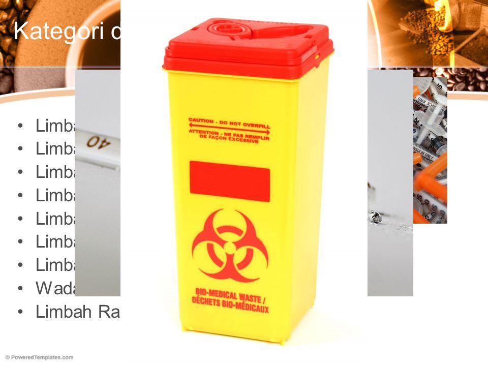 Kategori di Indonesia Limbah Infeksius Limbah Patologis Limbah Benda Tajam Limbah Farmasi Limbah Genotoksik Limbah Kimia Limbah dengan Logam Berat Tin