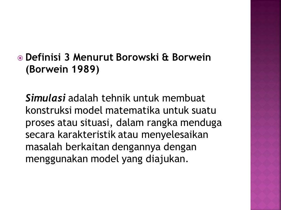  Definisi 3 Menurut Borowski & Borwein (Borwein 1989) Simulasi adalah tehnik untuk membuat konstruksi model matematika untuk suatu proses atau situasi, dalam rangka menduga secara karakteristik atau menyelesaikan masalah berkaitan dengannya dengan menggunakan model yang diajukan.
