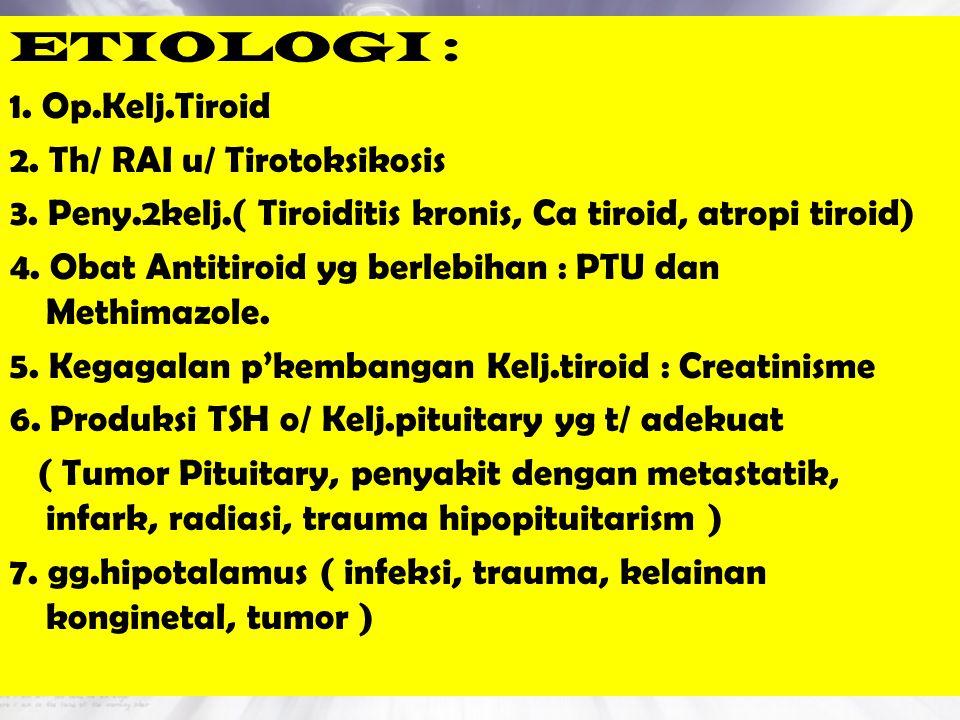 ETIOLOGI : 1. Op.Kelj.Tiroid 2. Th/ RAI u/ Tirotoksikosis 3. Peny.2kelj.( Tiroiditis kronis, Ca tiroid, atropi tiroid) 4. Obat Antitiroid yg berlebiha
