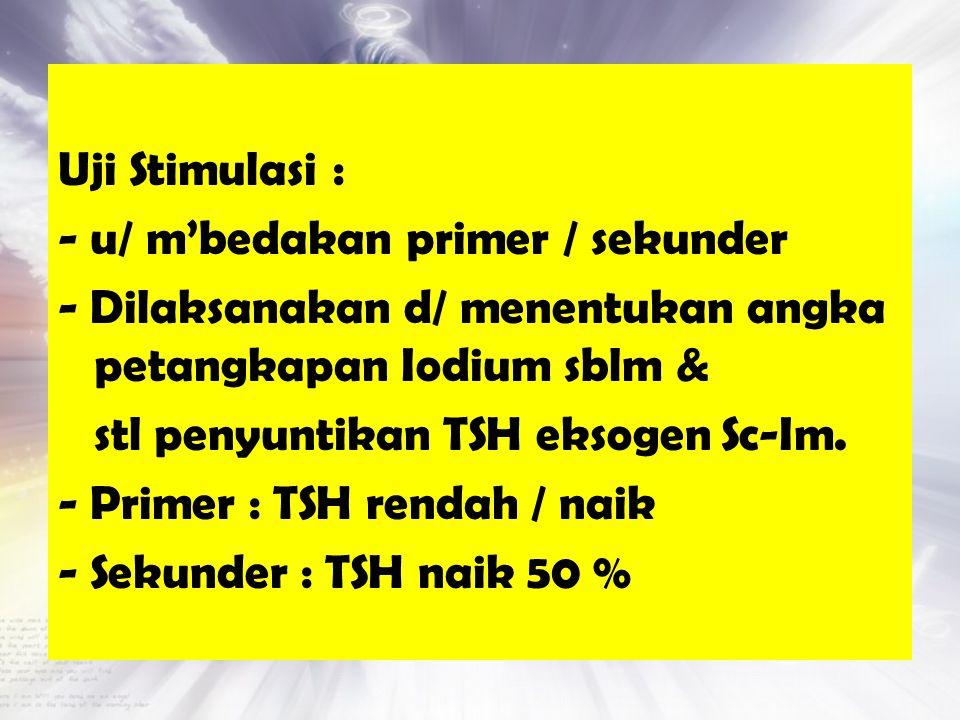 Uji Stimulasi : - u/ m'bedakan primer / sekunder - Dilaksanakan d/ menentukan angka petangkapan Iodium sblm & stl penyuntikan TSH eksogen Sc-Im. - Pri
