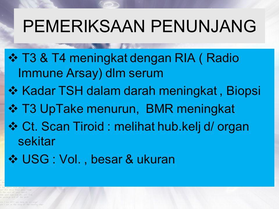 PEMERIKSAAN PENUNJANG  T3 & T4 meningkat dengan RIA ( Radio Immune Arsay) dlm serum  Kadar TSH dalam darah meningkat, Biopsi  T3 UpTake menurun, BM