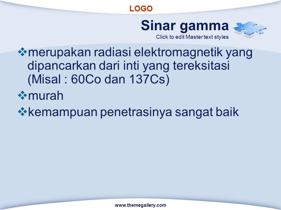 LOGO Click to edit Master text styles Sinar gamma  merupakan radiasi elektromagnetik yang dipancarkan dari inti yang tereksitasi (Misal : 60Co dan 13