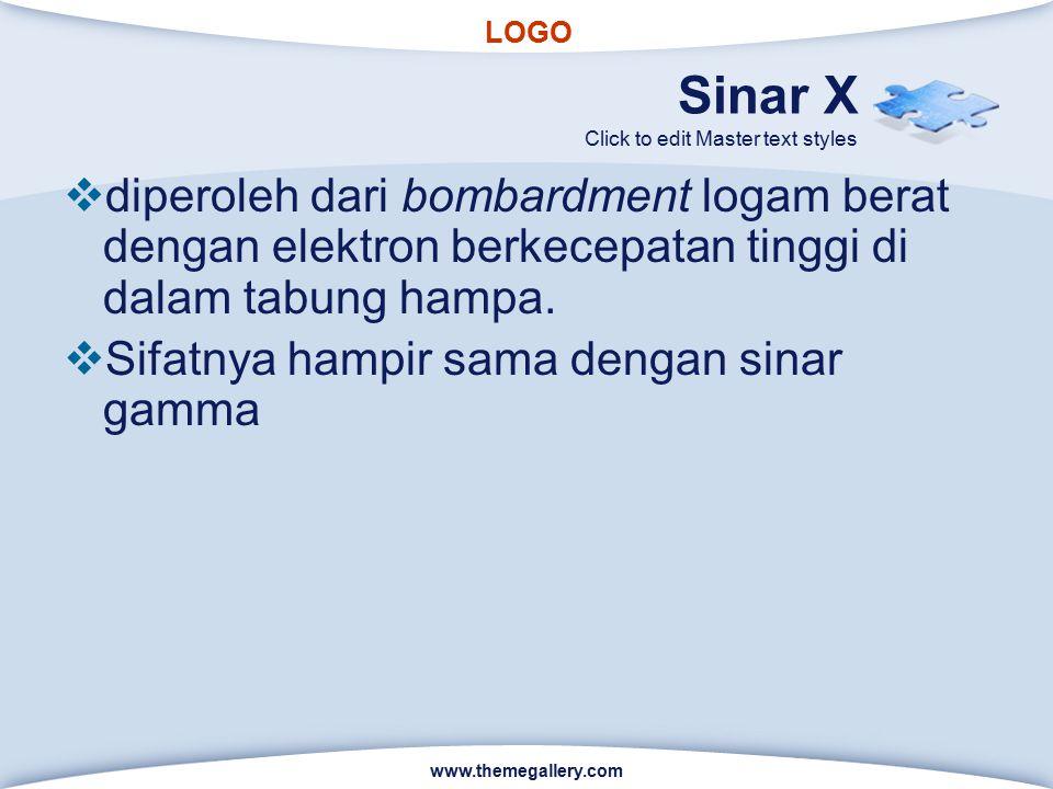 LOGO Click to edit Master text styles Sinar X  diperoleh dari bombardment logam berat dengan elektron berkecepatan tinggi di dalam tabung hampa.  Si