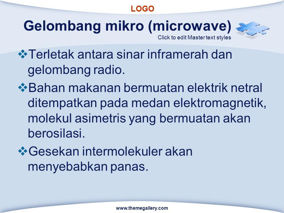 LOGO Click to edit Master text styles Gelombang mikro (microwave)  Terletak antara sinar inframerah dan gelombang radio.  Bahan makanan bermuatan el