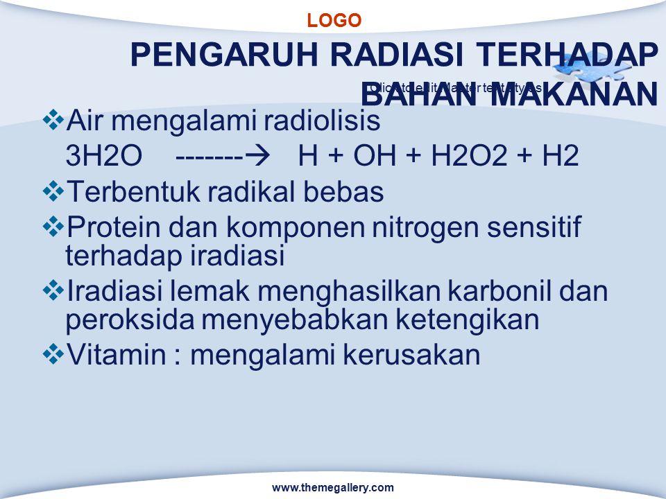 LOGO Click to edit Master text styles PENGARUH RADIASI TERHADAP BAHAN MAKANAN  Air mengalami radiolisis 3H2O -------  H + OH + H2O2 + H2  Terbentuk