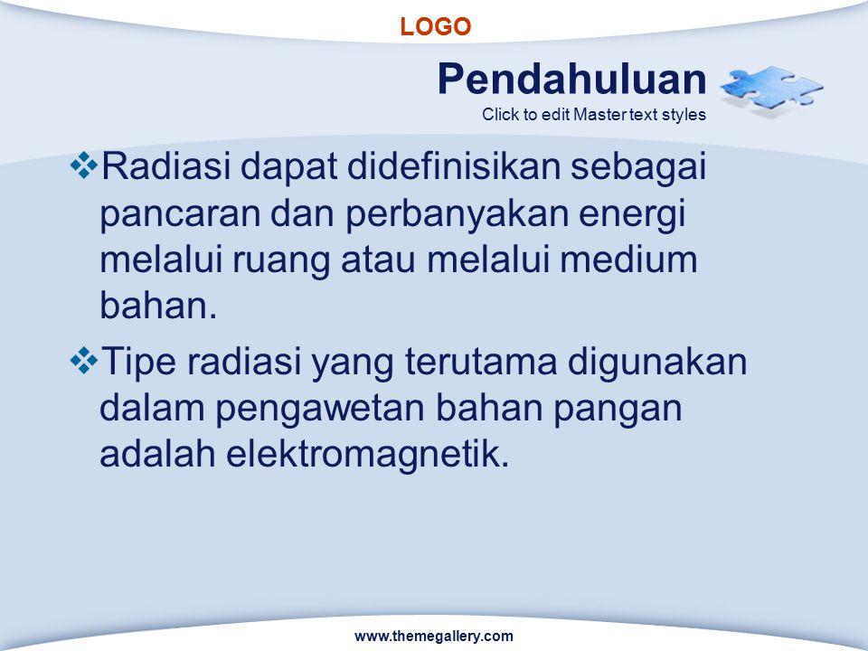 LOGO Click to edit Master text styles www.themegallery.com Pendahuluan  Radiasi dapat didefinisikan sebagai pancaran dan perbanyakan energi melalui r