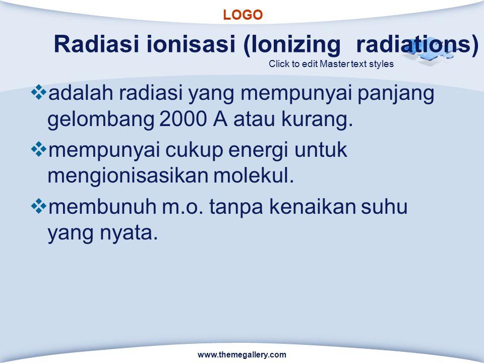 LOGO Click to edit Master text styles Radiasi ionisasi (Ionizing radiations)  adalah radiasi yang mempunyai panjang gelombang 2000 A atau kurang.  m