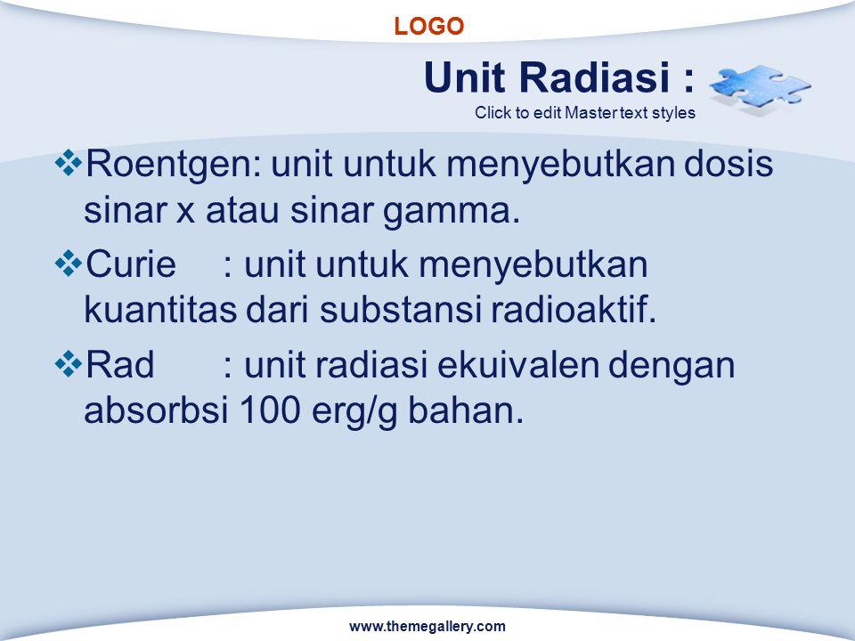 LOGO Click to edit Master text styles Unit Radiasi :  Roentgen: unit untuk menyebutkan dosis sinar x atau sinar gamma.  Curie: unit untuk menyebutka
