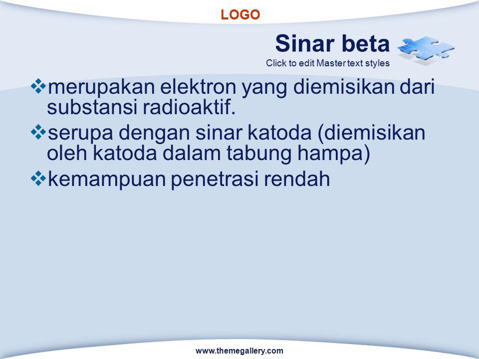 LOGO Click to edit Master text styles Sinar beta  merupakan elektron yang diemisikan dari substansi radioaktif.  serupa dengan sinar katoda (diemisi