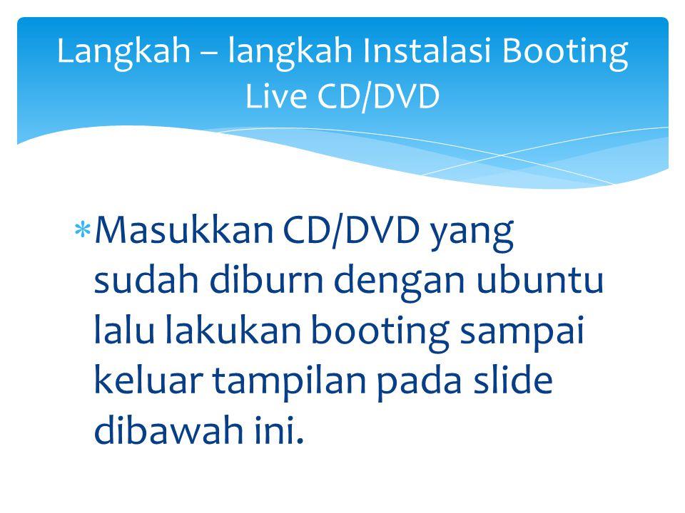  Masukkan CD/DVD yang sudah diburn dengan ubuntu lalu lakukan booting sampai keluar tampilan pada slide dibawah ini. Langkah – langkah Instalasi Boot