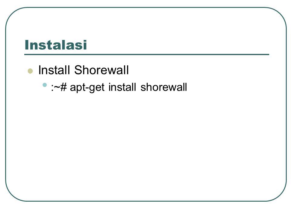 Instalasi Install Shorewall :~# apt-get install shorewall