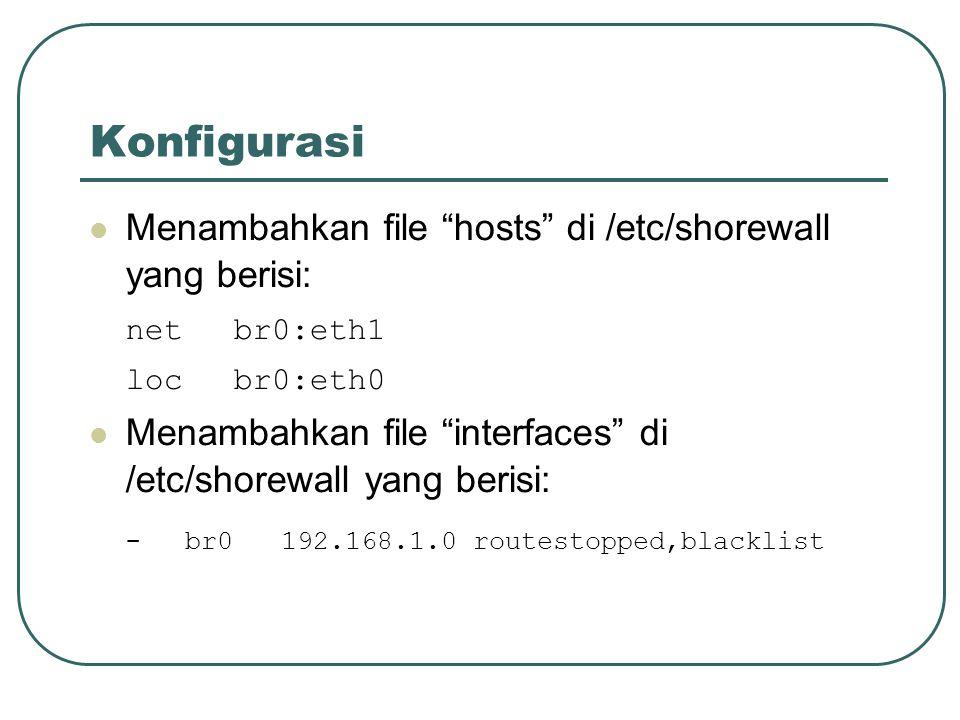 Konfigurasi Menambahkan file hosts di /etc/shorewall yang berisi: netbr0:eth1 locbr0:eth0 Menambahkan file interfaces di /etc/shorewall yang berisi: -br0192.168.1.0routestopped,blacklist