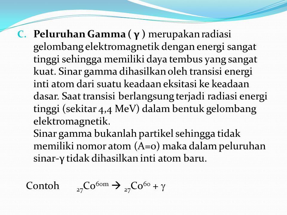 C. Peluruhan Gamma ( γ ) merupakan radiasi gelombang elektromagnetik dengan energi sangat tinggi sehingga memiliki daya tembus yang sangat kuat. Sinar