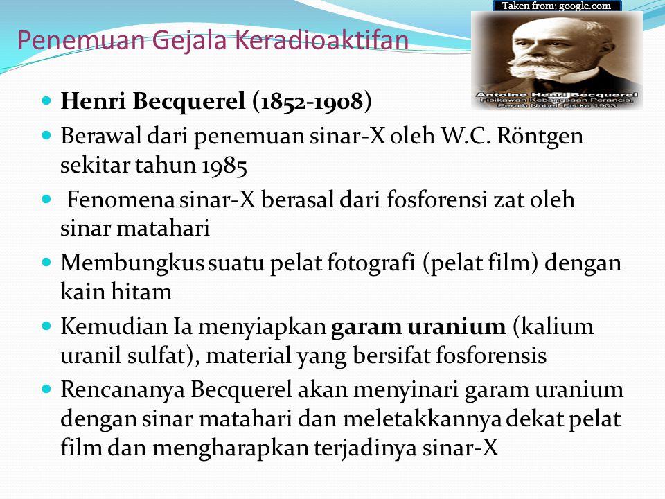 Penemuan Gejala Keradioaktifan Henri Becquerel (1852-1908) Berawal dari penemuan sinar-X oleh W.C. Röntgen sekitar tahun 1985 Fenomena sinar-X berasal