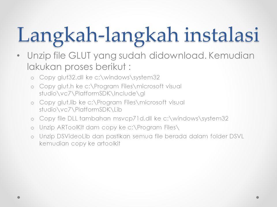 Langkah-langkah instalasi Unzip file GLUT yang sudah didownload.