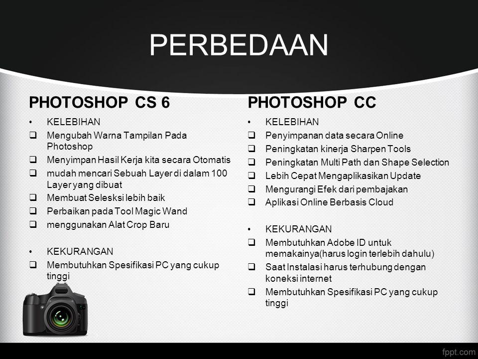 PERBEDAAN PHOTOSHOP CS 6 KELEBIHAN  Mengubah Warna Tampilan Pada Photoshop  Menyimpan Hasil Kerja kita secara Otomatis  mudah mencari Sebuah Layer
