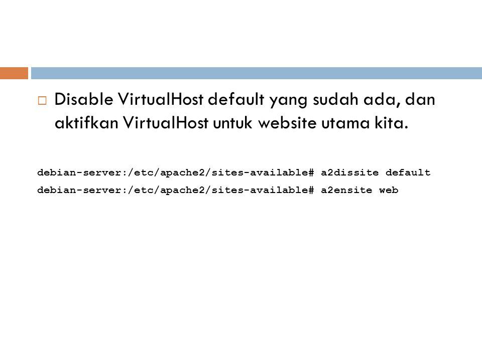  Disable VirtualHost default yang sudah ada, dan aktifkan VirtualHost untuk website utama kita. debian-server:/etc/apache2/sites-available# a2dissite