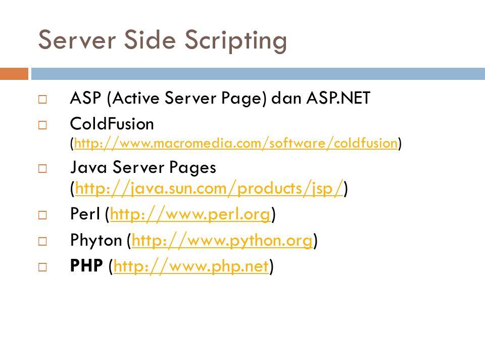 Server Side Scripting  ASP (Active Server Page) dan ASP.NET  ColdFusion (http://www.macromedia.com/software/coldfusion)http://www.macromedia.com/sof