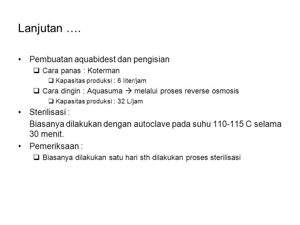 Lanjutan …. Pembuatan aquabidest dan pengisian  Cara panas : Koterman  Kapasitas produksi : 6 liter/jam  Cara dingin : Aquasuma  melalui proses re